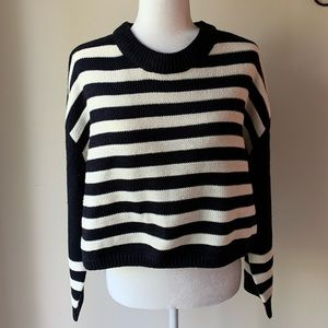 NWT TOPSHOP striped crop crewneck sweater